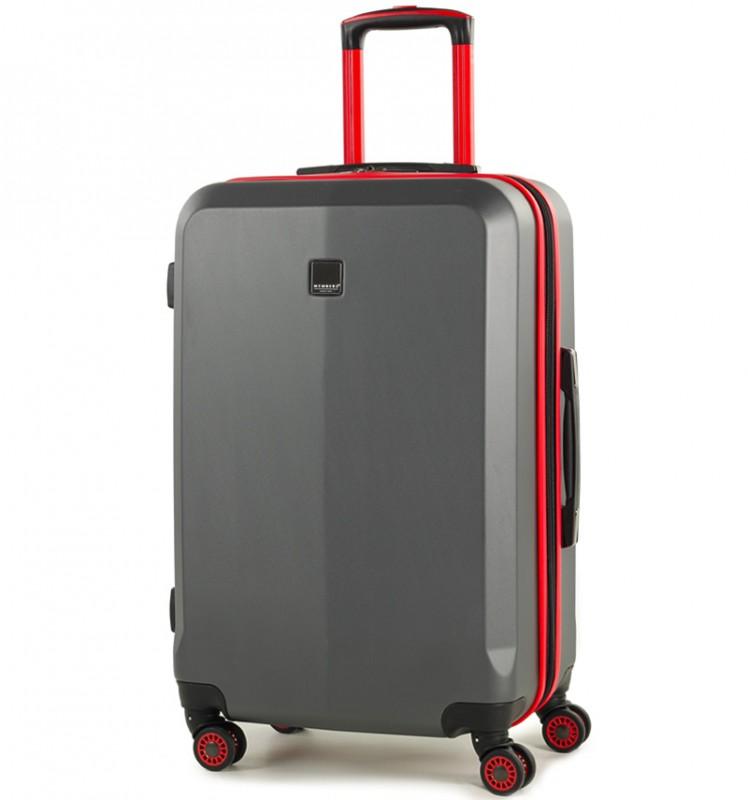 Member´s ONYX Střední cestovní kufr z ABS 67cm (Šedá/červená)