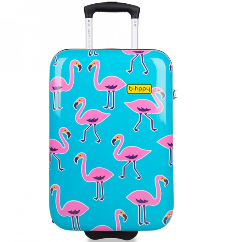 B.HPPY Designový kabinový kufr 52cm - Go Flamingo