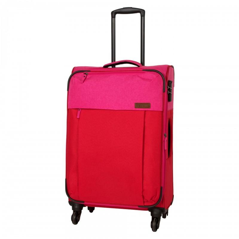 Travelite NEOPAK Textilní rozšířitelný retro kufr 67cm (Red/pink)
