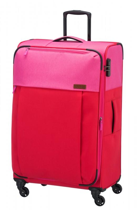 Travelite NEOPAK Velký retro textilní rozšířitelný kufr 77cm (Red/pink)