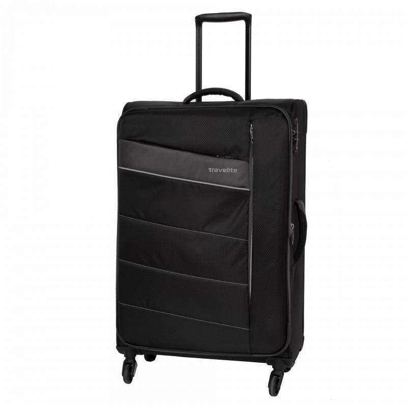 Travelite KITE Ultra lehký rozšířitelný kufr 4 kolečka, L (Black)