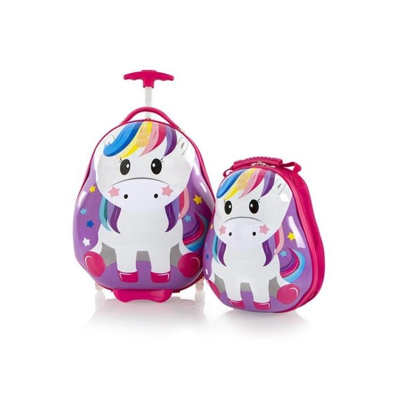 Heys TRAVEL TOTS dětská sada kufru a batohu, motiv Unicorn