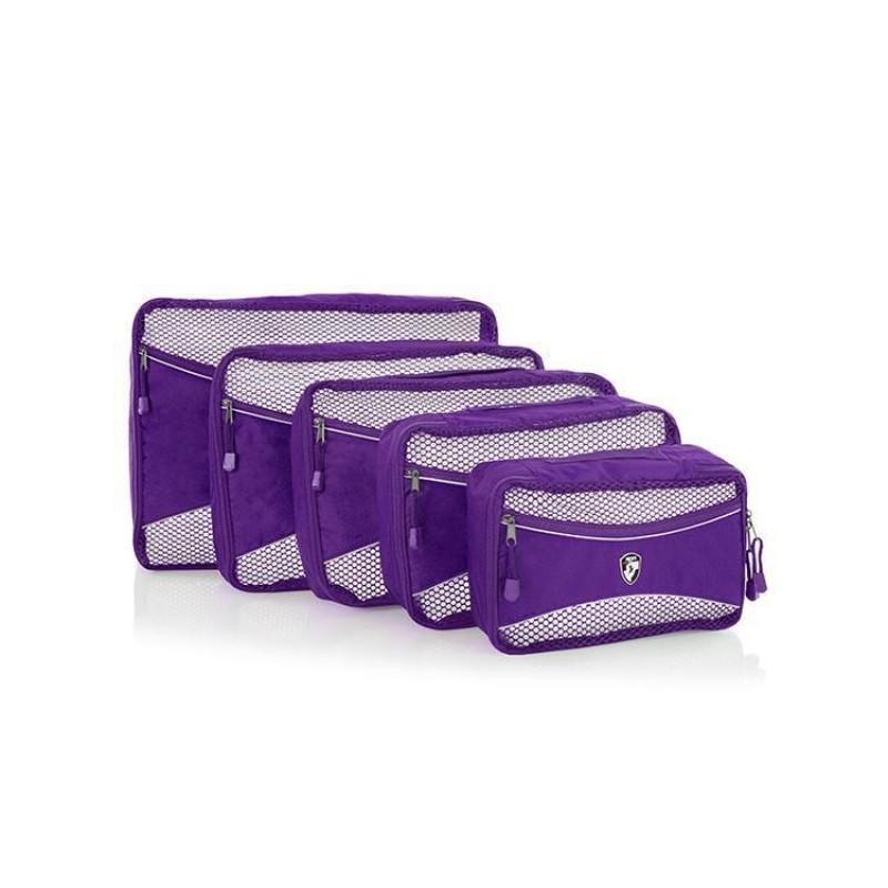 Heys ECO PACKING CUBE Sada pěti organizérů (Purple)