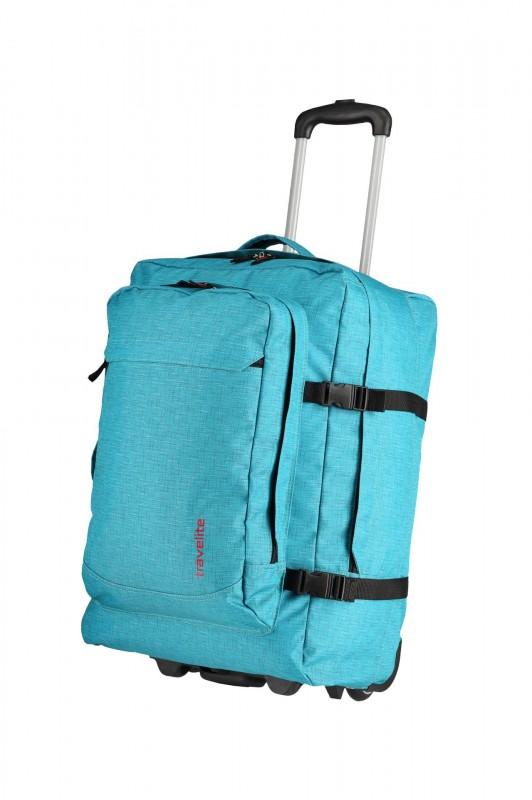 Travelite BASICS Cestovní taška/ batoh 2 kolečka, 53 cm (Turquoise print)