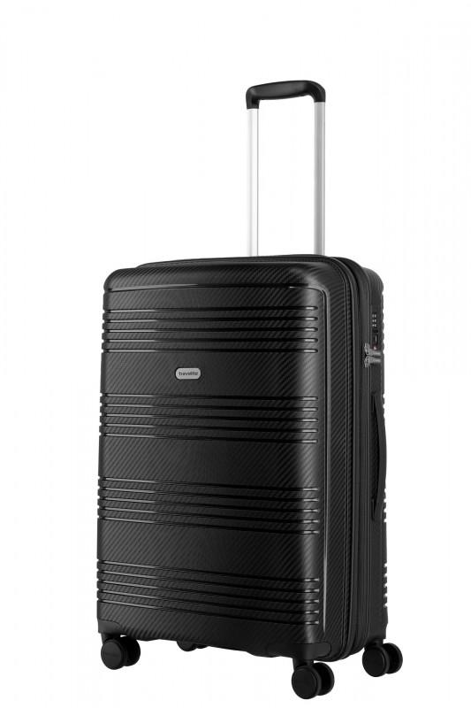 Travelite ZENIT Rozšířitelný spořepinový kufr 68 cm (Black)