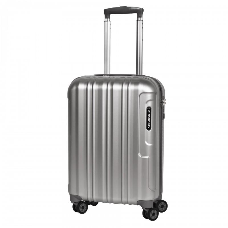 March COSMOPOLITAN SE Luxusní palubní kufr 55cm, S (Silver alu)