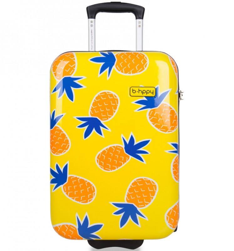 B.HPPY Designový kabinový kufr 52cm - Home Sweet Pineapple