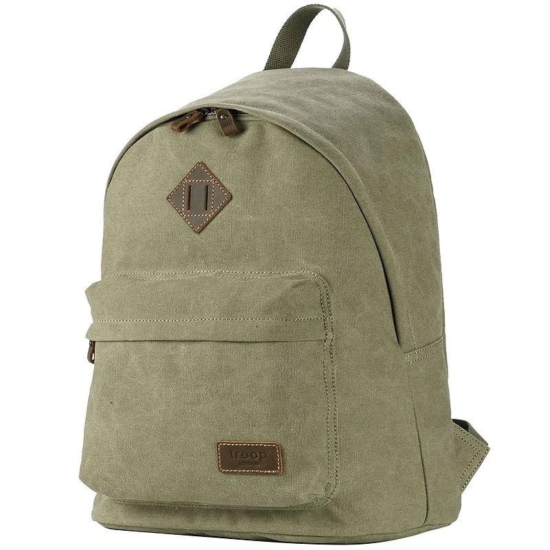 Troop London TRP0384 Školní batoh klasického vzhledu - Khaki