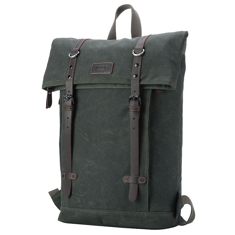Troop London TRP0425 Batoh s klopou na notebook 13 - Dark Green