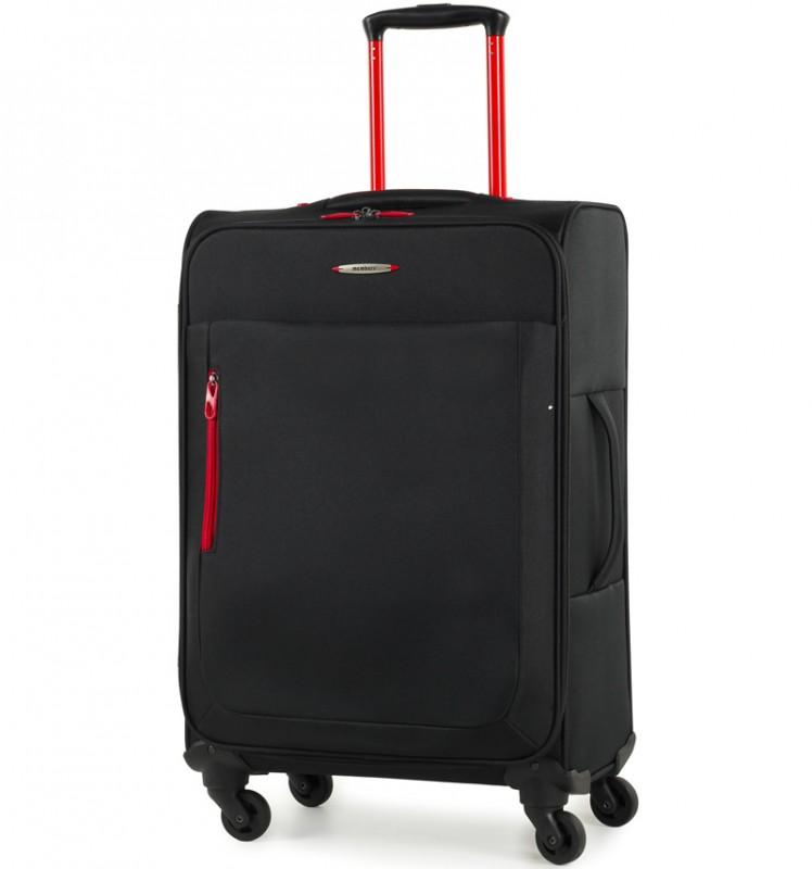 Member´s HI-LITE Rozšířitelný kufr s barevnými doplňky, 67 cm (Černá)