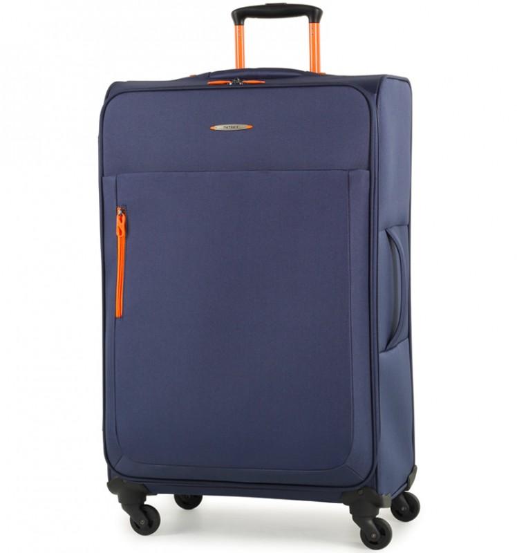 Member´s HI-LITE Rozšířitelný kufr s barevnými doplňky, 78 cm (Modrá)