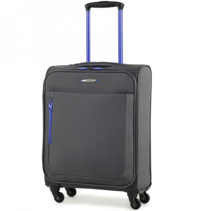 Member´s HI-LITE Lehký kabinový kufr s barevnými doplňky, 54 cm (Šedá)