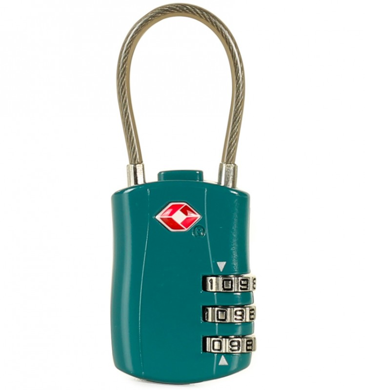 Rock Zámek kabelový s TSA (zelený)
