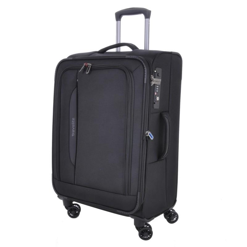 Travelite CROSSLITE Špičkový středně velký kufr na 4 kolečkách (Black)