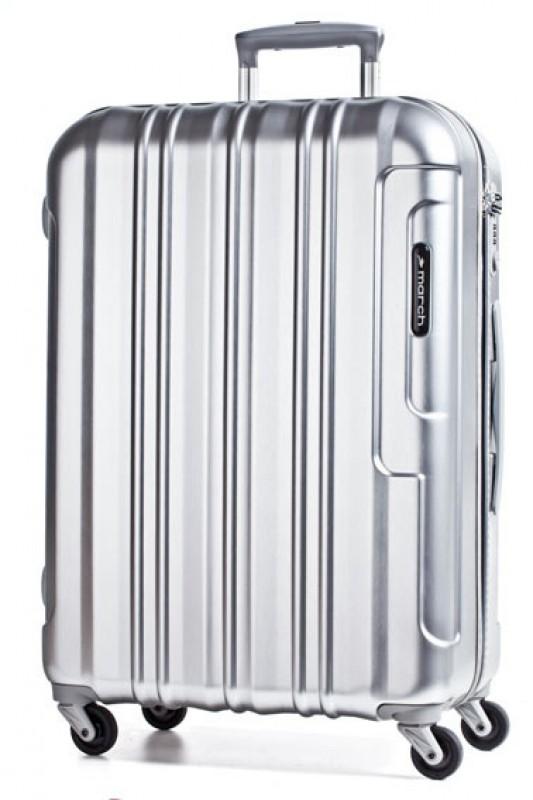 March COSMOPOLITAN Kvalitní cestovní kufr 77cm, L (Silver alu)