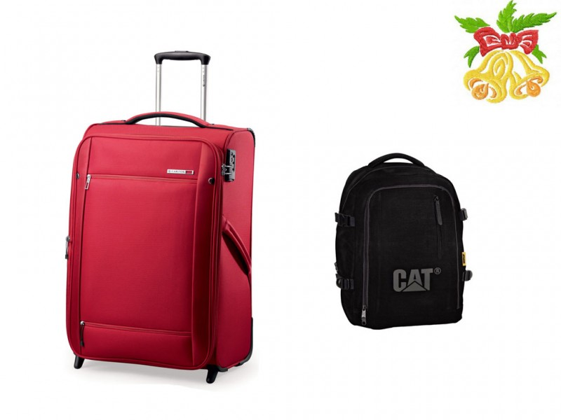 Carlton O2 Expandable Trolley Case 72cm (Red) + CAT KYOTO CAMPUS Batoh (Black)