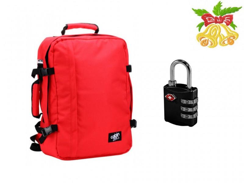 CabinZero CLASSIC ULTRA-LIGHT Odlehčený batoh (Red) + Carlotn TSA zámek (Black)