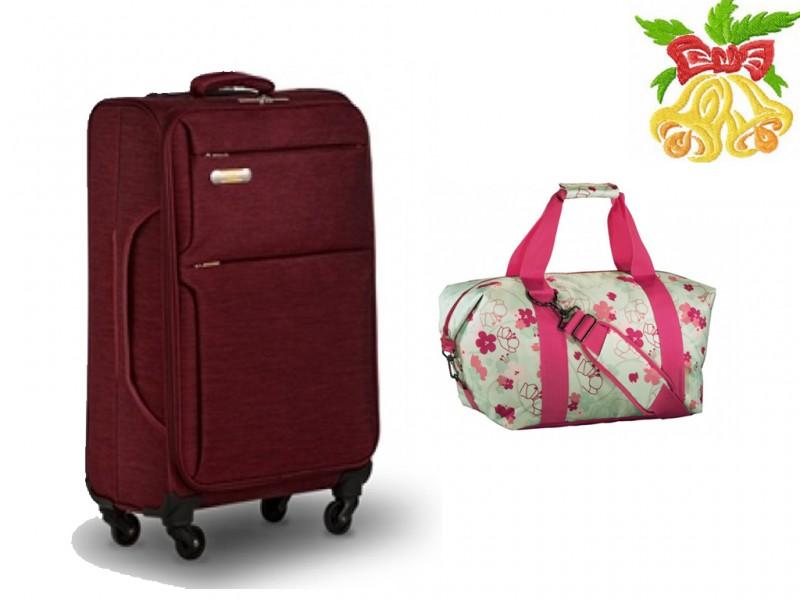 Ciak Roncato GIRO Kufr 4w 75cm (Cherry Red)+ Aha CLASSIC Cestovní taška (Color Beat)