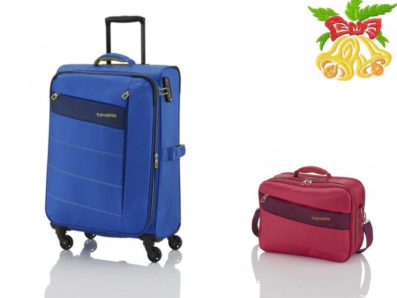 Travelite KITE Kufr 4w 64cm (Royal Blue)+ Travelite KITE Palubní taška (Pink)
