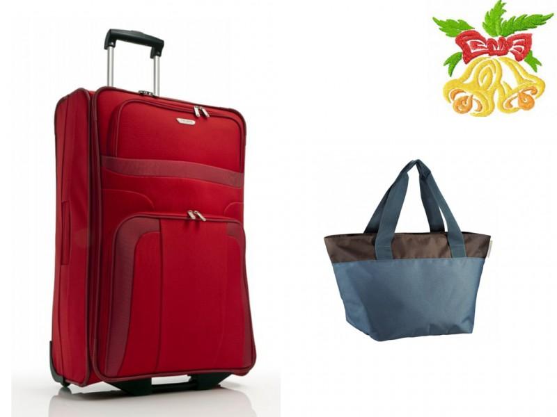 Travelite ORLANDO Cestovní kufr 2w 73 cm (Red)+Aha CLASSIC Plážová taška (Petrol)
