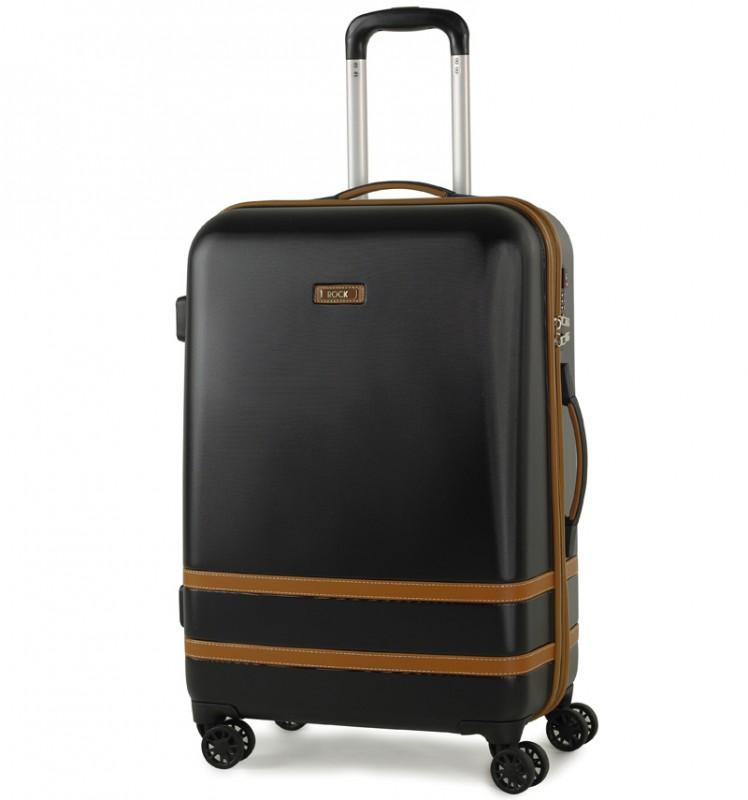 Rock VALENCE Stylový kufr střední velikosti z ABS 67cm (Černý)