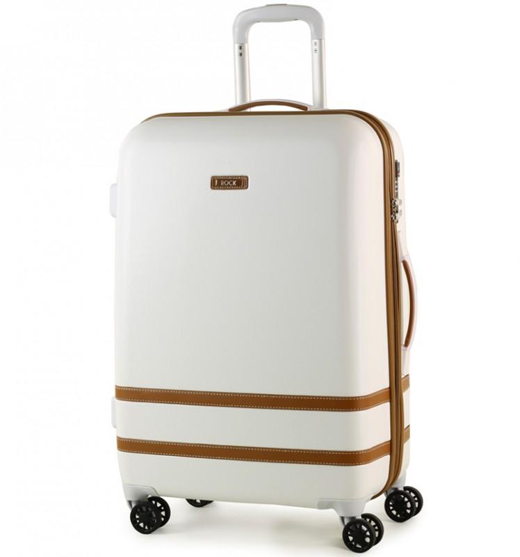 Rock VALENCE Stylový kufr střední velikosti z ABS 67cm (Bílý)