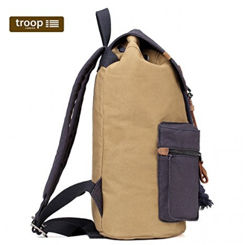 ... Troop London TRP0417 Velký batoh s dvěmi kapsičkami - Green Camel 1091228d33