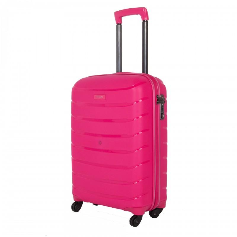 Titan LIMIT Velmi odolný skořepinový palubní kufr 55cm (Hot Pink)