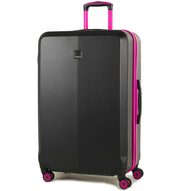 Member´s ONYX Velký cestovní kufr z ABS 77cm (Černá/růžová)