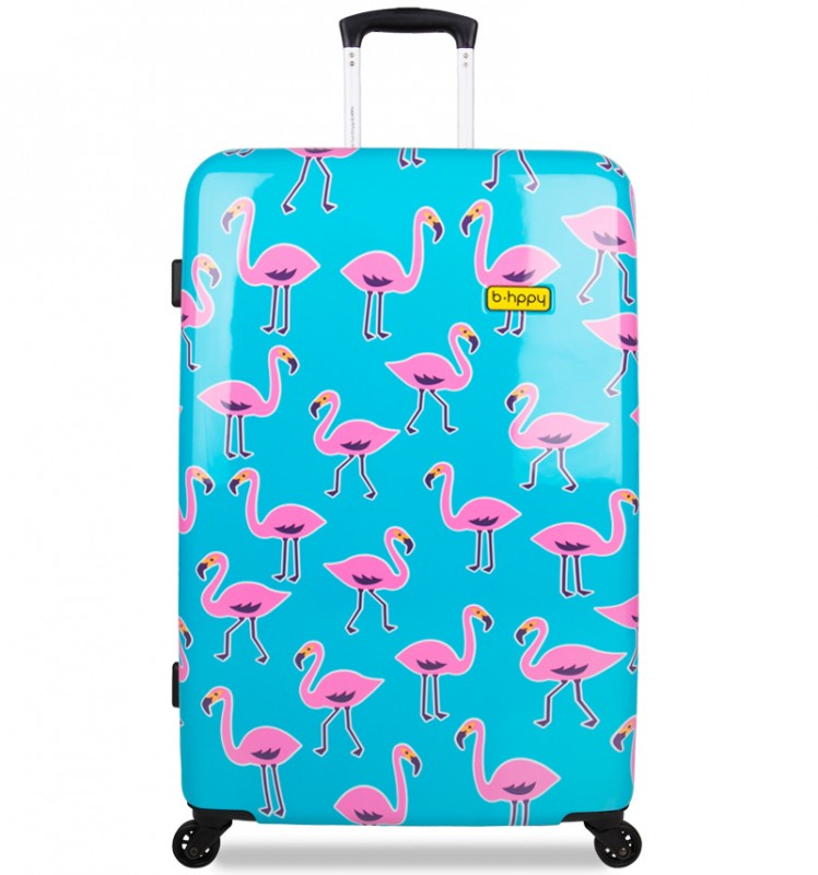 B.HPPY Designový kufr 77cm - Go Flamingo
