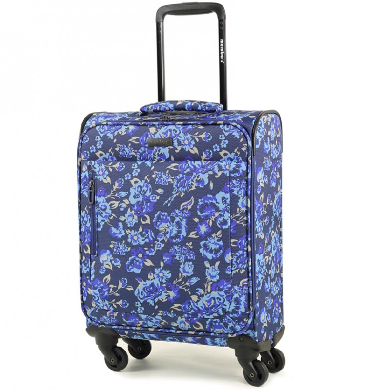 Member´s VOGUE Kabinové zavazadlo 4 kolečka 55cm (Modrá/Flowers)