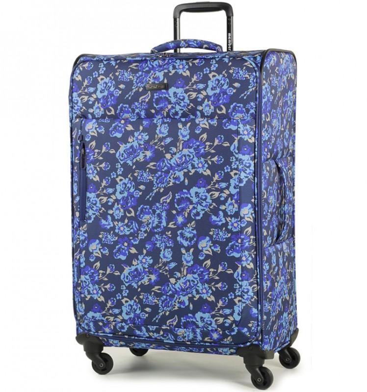 Member´s VOGUE Velký kufr na čtyřech kolečkách 78 cm (Modrá/Flowers)