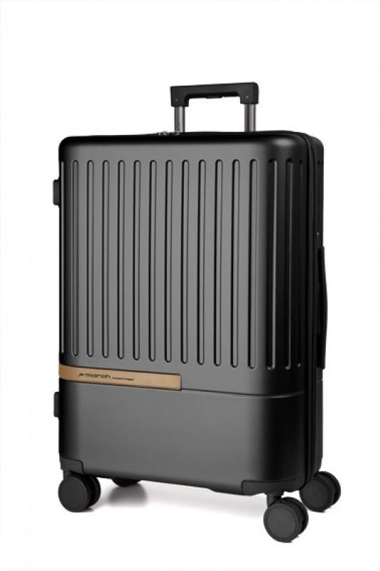March DAYTONA Velký moderní kufr z polykarbonátu 76cm (Black/Copper)