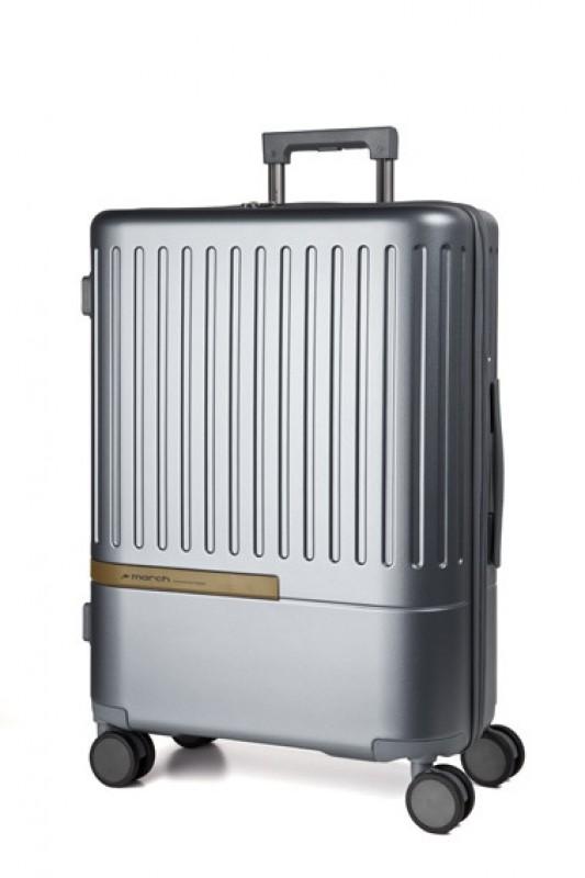 March DAYTONA Velký moderní kufr z polykarbonátu 76cm (Silver/Gold)