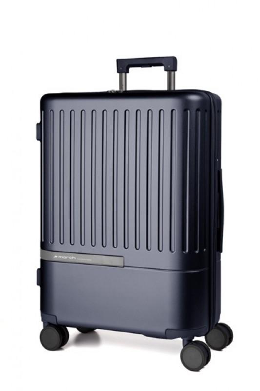 March DAYTONA Střední moderní kufr z polykarbonátu 66cm (Navy/Silver)
