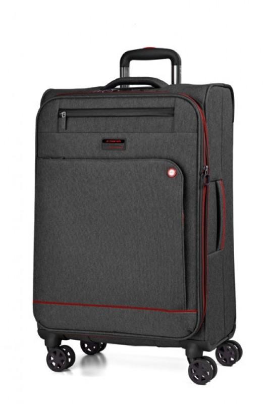 March SHORTTRACK Velký ležérně elegantní kufr 78cm (Black/red)