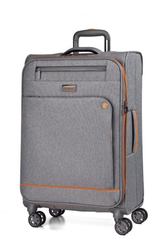 March SHORTTRACK Velký ležérně elegantní kufr 78cm (Grey/orange)