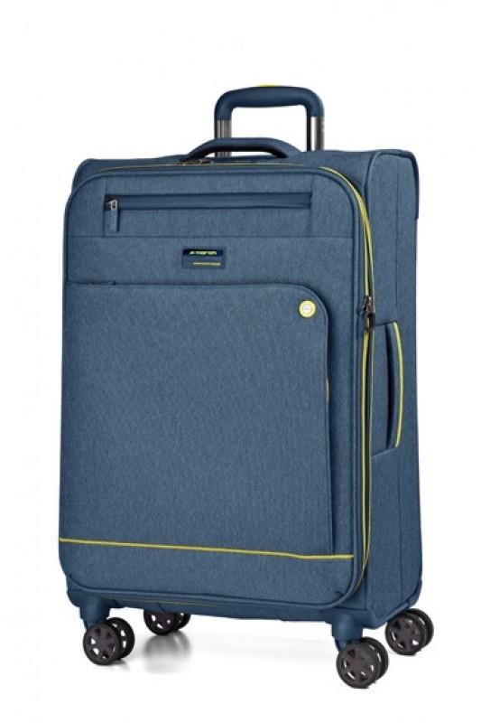 March SHORTTRACK Velký ležérně elegantní kufr 78cm (Navy/yellow)