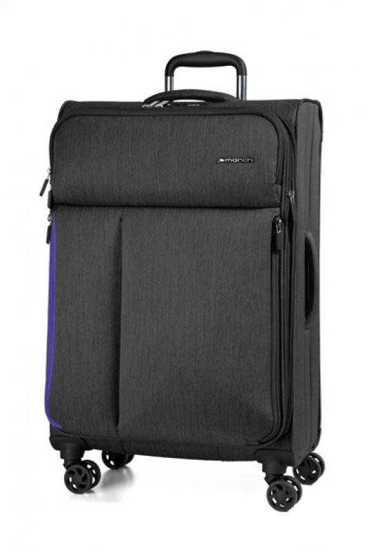 March RALLY Elegantní textilní kufr 68cm (Black brushed)