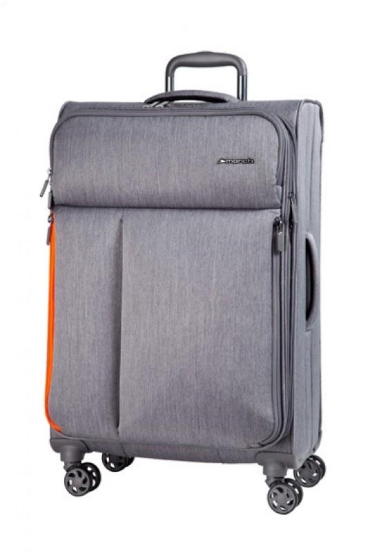 March RALLY Elegantní textilní palubní kufr 55cm (Grey brushed)