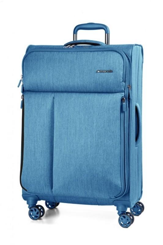 March RALLY Velký elegantní textilní kufr 78cm (Petrol blue brushed)