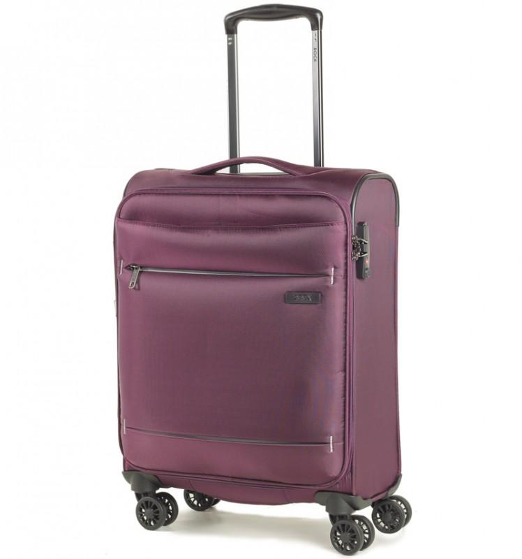 Rock DELUX-LITE Textilní palubní kufr na 4 zdvojených kolečkách 55cm (fialová)