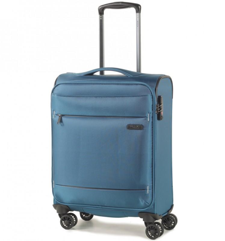 Rock DELUX-LITE Textilní palubní kufr na 4 zdvojených kolečkách 55cm (modrá)