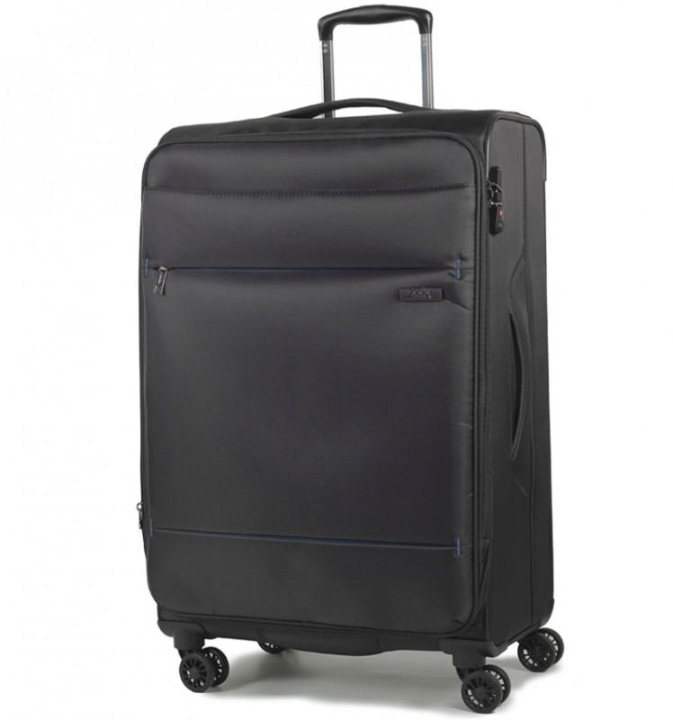 Rock DELUX-LITE Textilní kufr na 4 zdvojených kolečkách 72cm (černá)