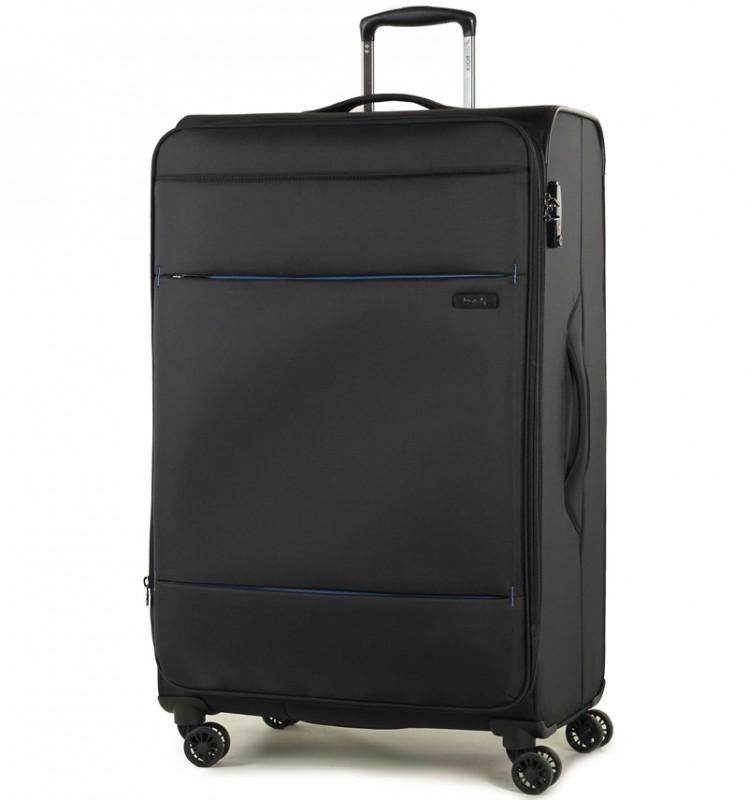 Rock DELUX-LITE Textilní kufr na 4 zdvojených kolečkách 83cm (černý)