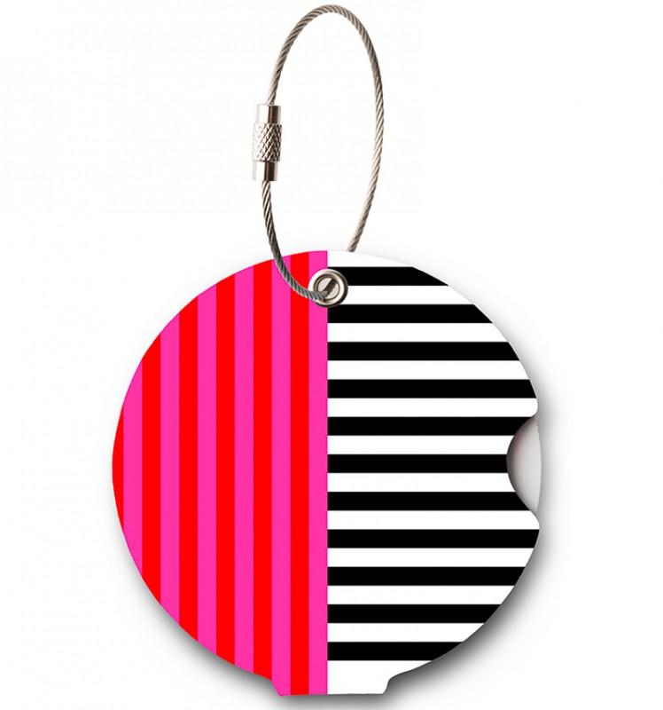 Addatag - Jmenovka na kufr - vzor Multi Stripes Pink