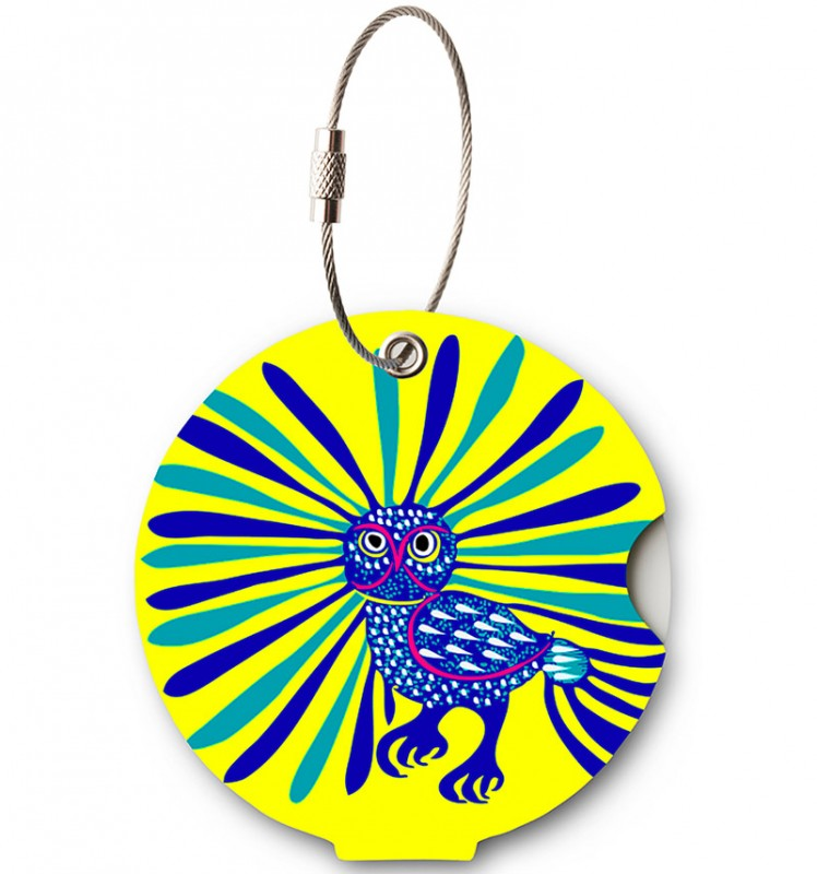 Addatag - Jmenovka na kufr - vzor Owl Yellow