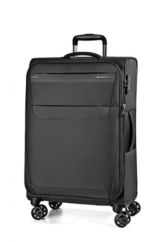 March AEON Lehký rozšířitelný textilní kufr 78cm (Black)