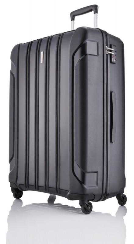 Travelite COLOSSO Plastový kufr 4 kolečka 65 cm, M (černý)