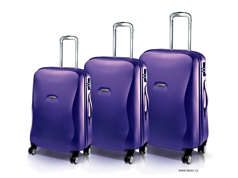 ALBA Spinner Trolley Set 78/65/53 cm (purpurová texturovaná)